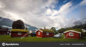 100 Houses In Norway Camping Houses In With Cloud And Mountains Stock