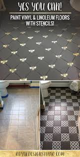 Laying Stone Tile Over Linoleum by Paint Vinyl U0026 Linoleum With Floor Stencils 8 Diy Decor Ideas
