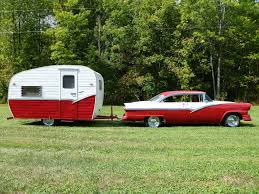 Ruby Red 1956 Platt Camper And Ford Victoria Combo