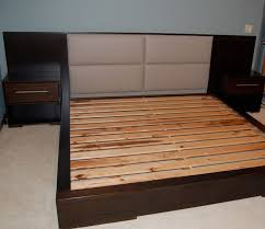 Queen Bed Stand by Solid Wood Queen Japan Style Bed Frame With Padded Headboard And