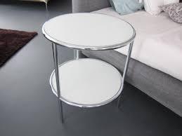 beistelltisch u f o 56 rund glas weiß chrom d tec