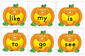 Pumpkin Sight Words To Use With Roll A Word Game Put Inside Of