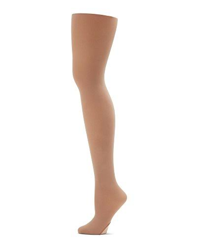 Capezio Big Girls' Ultra Soft Self Knit Waistband Tight - Suntan, 8-12, One Size