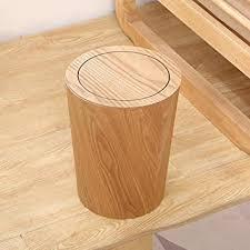 fcsfsf holz mülleimer mit schaukeldeckel runde küche mülleimer japanische kleine abfalleimer papierkorb für büro badezimmer wohnzimmer b 19x19x30cm