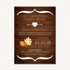 Rustic Fall Orange Brown Autumn Wedding Invitation