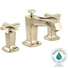 Polished Brass Bathroom Faucet 8 by Kohler Finial Traditional 8 In Widespread 2 Handle High Arc