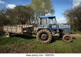 Old British Leyland Tractor And Trailer On A Farm In Steeple Bumpstead The Essex Suffolk
