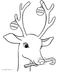 Reindeer Coloring Pics Christmas Page