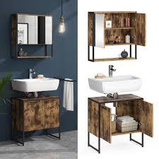 vicco loft badmöbel set fyrk vintage spiegelschrank mit ablage waschtischunterschrank