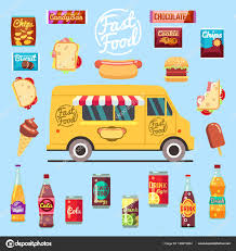 Food Truck With Big Set Summer Meal, Fast Food Snacks, Bottle Drinks ...