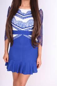 blue u0026 cream lace sleeve and panel skater dress