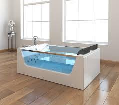 freistehende whirlpool badewanne avignon mit 22 düsen mit heizung glas ozon led luxus spa für bad