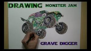 100 Monster Truck Drawing Speed Jam Grave Digger YouTube