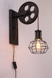 kiven in dimmable plley industrial cage wall sconce vintage