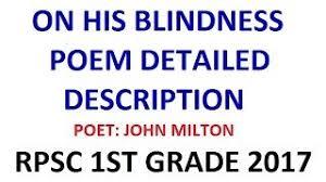 🌟🌈 His Blindness Poem by John Milton PRAGYA KANKER 1