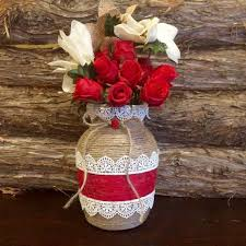 Rustic Jute Wrapped Vase Romantic Twine Red Shabby Chic Farmhouse Decor Home