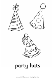 Party Hats Colouring Page