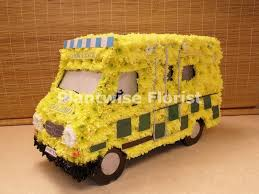 3D Ambulance Wreath Made In Flowers For A Paramedics Funeral