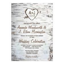 Country Rustic Birch Tree Bark Wedding Invitations