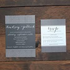 Black And White Art Deco Chevron Wedding Invitation Set Invite Card Suite RSVP Modern Simple Elegant