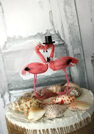 Pink Flamingo Wedding Cake Topper Mr And Mrs Bride Groom Destination Tropical Beach