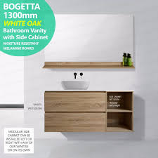 Bathroom Vanity With Drawers On Left Side by Bogetta 1300mm White Oak Wall Hung Side Storage Vanity With
