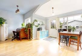 Bright Entrance Room In Craftsman Style House Light Tones Hardwood Floor View Of Dining