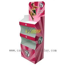 Floor Advertising Cardboard Tray Display Stand For Cosmetics