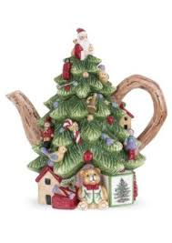 Amazon Spode Christmas Tree Sculpted Shape Teapot 8 Kitchen Dining