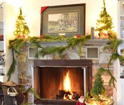 Decorations Fireplace And Mantel Christmas Decorating Idea Alongside Green Plants Decor