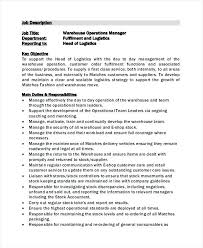 Sample Warehouse Manager Job Description Examples In Word For Resume