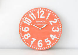 Coral Colored Decorative Items by Faux Vintage Clock In Retro London Coral Handmade Birch