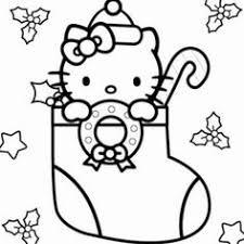 Hello Kitty Christmas Stocking Coloring Sheet