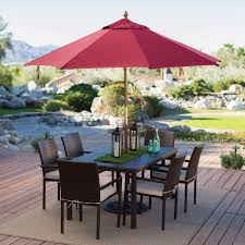 9 Ft Patio Umbrella Frame by Commercial Grade 9 Ft Wood Market Umbrella With Burgundy Red