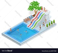 Isometric Aqua Park With Water Slides Pool Vector Image