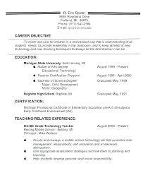 Career Objective For Resume Teacher Change Statement Examples Samples