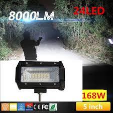 2 x 5 inch 168w flood led car tractor car road light bar work