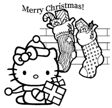 Kitty Coloring Sheets On Hello Christmas Pages Is Very Appropriate To Be Printed