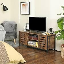 vasagle lowboard mit 2 türen und 2 regale fernsehtisch tv schrank industrie design vintage dunkelbraun ltv43bx