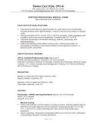 Coding Resume Sample For A Medical