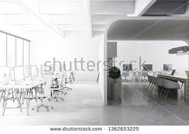 Modern White Kitchen Interior 3d Rendering Stockfoto Und Stock Photo Modern Office Kitchen Interior