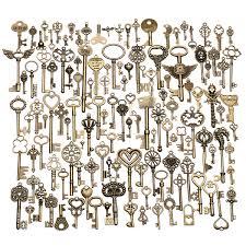 130pcs Antique Vintage Style Bronze Brass Ornate Skeleton Key