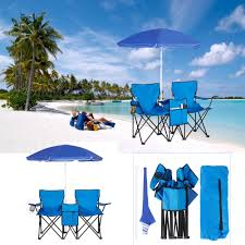 Double Folding Chair W/ Umbrella And Table Cooler Fold Up Beach ... Cheap Double Beach Chair With Cooler Find Folding Camp And With Removable Umbrella Oztrail Big Boy Camping Black Buy Online Futuramacoza Pnic W Table Fold Fan Back The 25 Best Chairs 2019 Choice Products Bag Bestchoiceproducts Portable Fniture Astonishing Costco For Mesmerizing Home Wumbrella Up Outdoor Set Chairumbrellatable Blue