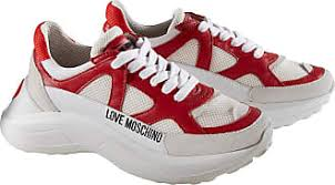 Love Moschino Chunky Sneakers Weiss Rot Damen