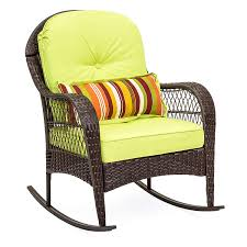 Best Choice Products Outdoor Wicker Rocking Chair For Patio, Porch, Deck,  Poolside W/Weather-Resistant Cushions, Steel Frame - Green My Favorite Finds Rocking Chairs Down Time Exciting Rattan Wicker Chair Cushions Agreeable Fniture Rural Grey Wooden Single Rocking Chair Departments Diy At Bq Outdoor A L Hickory 7 Slat Rocker In 2019 Handsome Green Tweed Cushion Latex Foam Rustic American Sedona Lowes For Inspiring Antique Classic Check Taupe Plaid Standish Darek La Lune Collection Belham Living Raeburn Rope And Wood Walmartcom