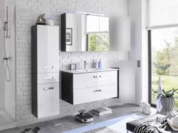 badezimmer manhattan hochglanz in grau und weiß 4 teile mit waschbeckenunterschrank inklusive becken spiegelschrank großen hängeschrank und