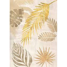 bilder wohnzimmer ideen leinwand bilder palmblätter gold i