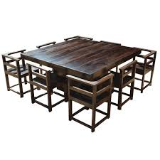 100 Living Room Table Modern Rustic Solid Wood 64 Square Pedestal Dining 8 Chairs