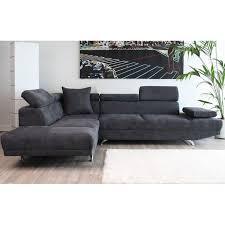 canapé gris foncé canapé d angle à gauche 3 places en microfibre coloris gris