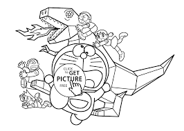 Doraemon And Metal Dinosaur Coloring Pages For Kids Printable Free